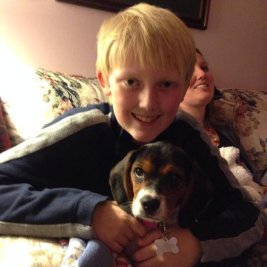 My grandson & his new beagle mix puppy, Zelda