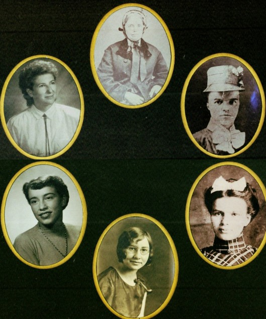 From Shirley Kehne, Winnetoon, Nebraska, six generations of the women in her family.   Clockwise...Top Margaret Ramsey Carrothers Fanny Carrothers Leidy Sarah (May) Leidy Fraka Esther Fraka Vrooman Shirley Vrooman Kehne Peggy Kehne Ebel