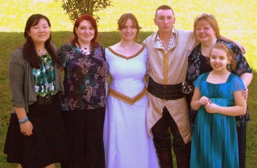 My sister, Marie, with her children - Naomi, Erin, Amy (daughter-in-law), Andrew & Bethany