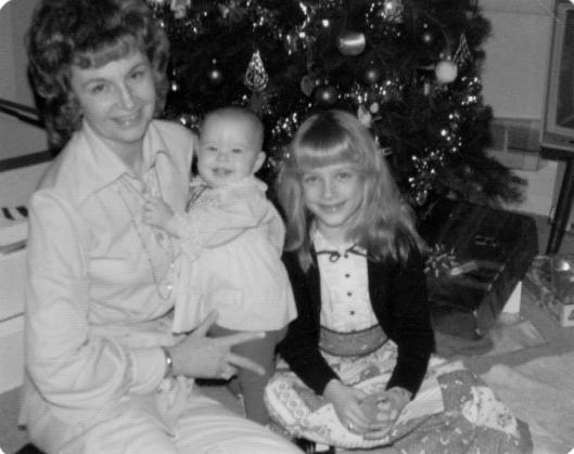 My Aunt Jackie with daughters, Elaine & Jean (Christmas, 1974)