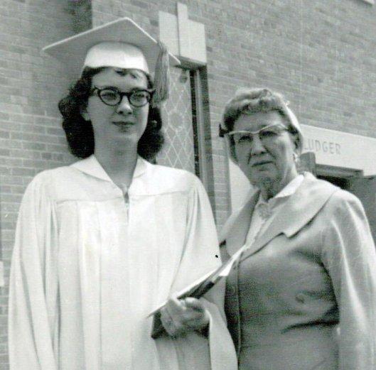 Gayle Neuhaus with her grandmother, Faye Fredrickson, on her graduation from high school