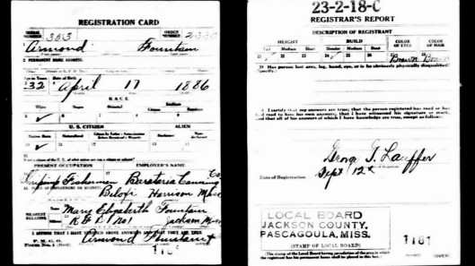 My Great-Grandfather, Armond Fountain's WWI Draft Registration