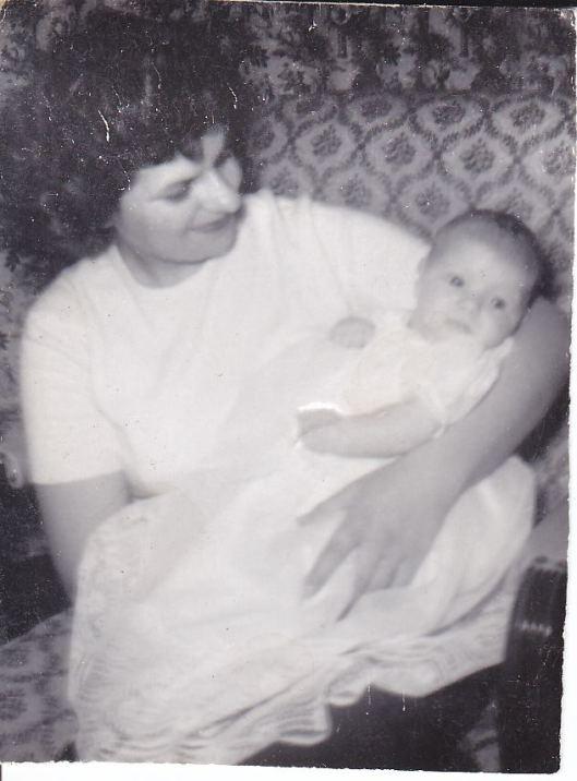 Margaret Helen Weidner (1930-1966), (daughter of Albert Bennet & Katherine Kronesteiner Weidner of Baltimore, MD), holding me, Janet Marie (b. 1960)
